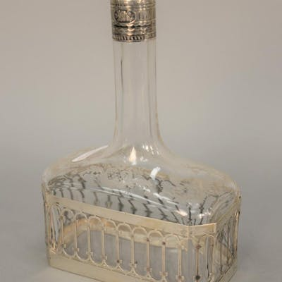 Etched crystal bottle with continental top and base. ht. 8 1