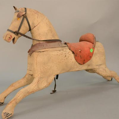Early painted and carved wood childs rocking horse with leat