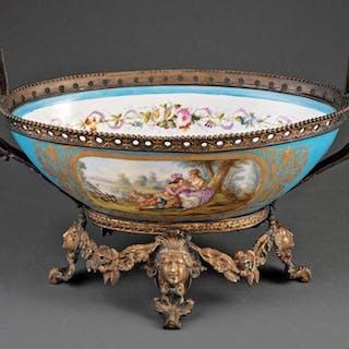 Gilt Bronze-Mounted Sevres Porcelain Center Bowl