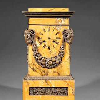 Bronze-Mounted Sienna Marble Mantel Clock