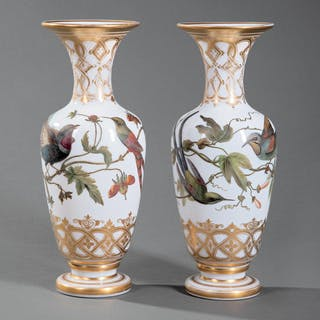 Baccarat Gilt and Enameled Opaline Glass Vases