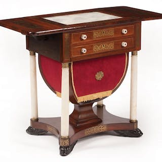 Rosewood, Alabaster and Brass Inlaid Work Table