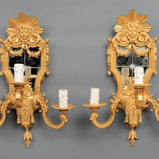Louis XIV-Style Gilt Bronze Mirrored Sconces