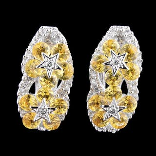 Gold, Yellow Sapphire, Diamond Floral Earrings