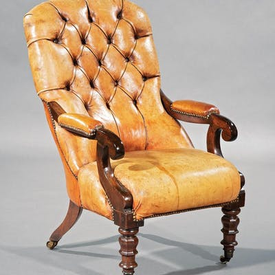 Carved Mahogany, Leather Library Chair