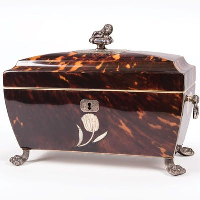 Silver, Mother-of-Pearl Inlaid Tea Cadddy
