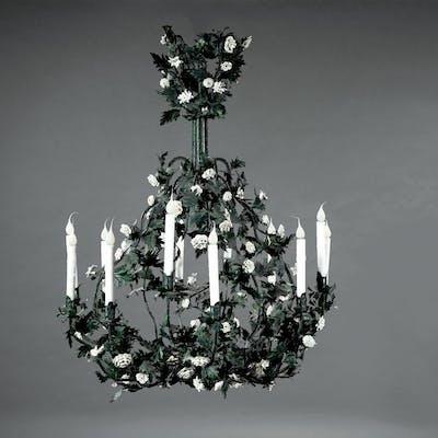 Tôle Peinte, Porcelain-Mounted Chandelier