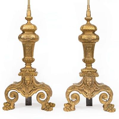 Continental Gilt Bronze Lamps
