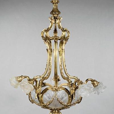 Art Deco Bronze and Glass Chandelier