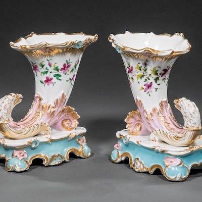 Polychrome, Gilt Porcelain Rhyton Vases