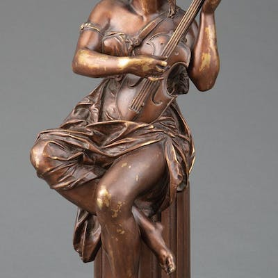 Bronze Figure of a Woman Playing Guitar