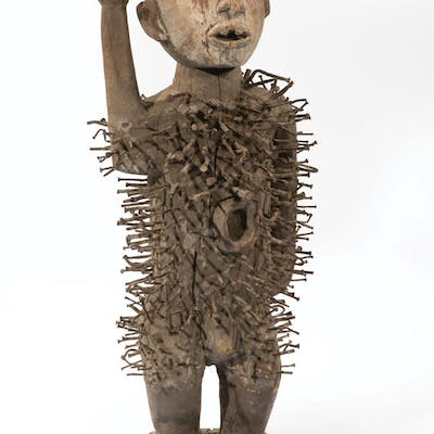 African Carved Wood Nail Power Figure