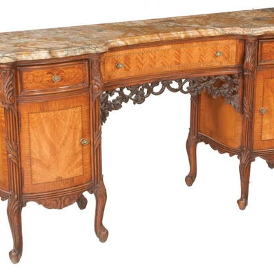 Louis XV style walnut and mahogany dressing table with shape