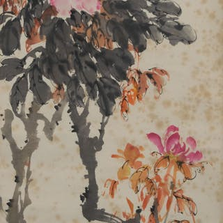 CHINESE PAINTING OF FLOWERS & BEES, ZHAO SHAOANG 趙少昂 花卉昆蟲立軸