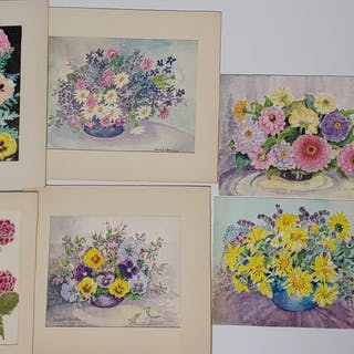 (7) Beulah H. Brown Flower Bouquet Paintings