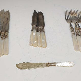 (18) Mother of Pearl & Sterling Forks & Knives
