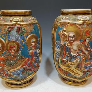 Pair Large Japanese Satsuma Ceramic Vases