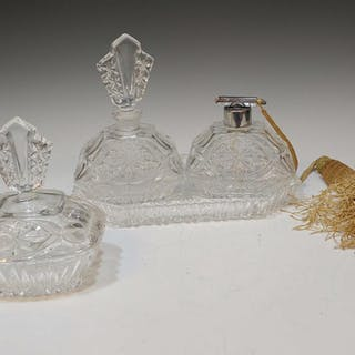 Pressed Glass Tray and Perfume Bottles