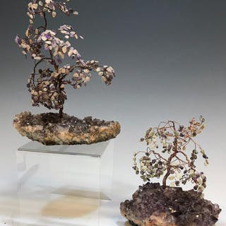 (2) Purple Amethyst Geode Trees