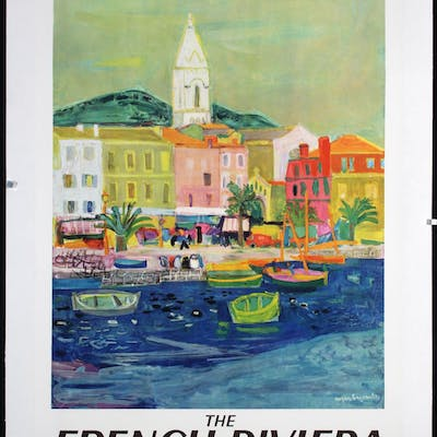 Old Original Vintage 1950s French Riviera Travel Poster