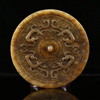 Han Dy Hetian Jade Low Relief Phoenix Design Mirror