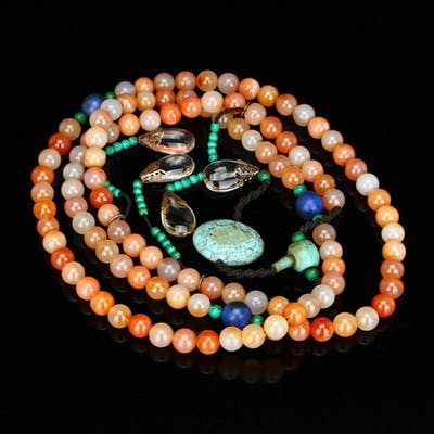 Natural Agate & Turquoise,Crystal Court Beads Necklace
