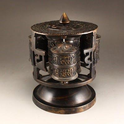 Vintage Tibetan Buddhism Red Copper Warp Wheel