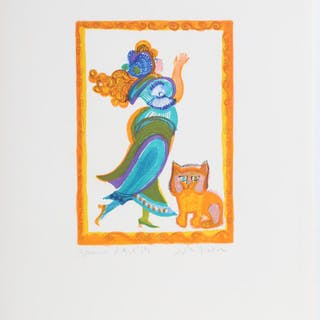 Judith Bledsoe, Petite Portrait - Woman in Gown with Cat, Lithograph