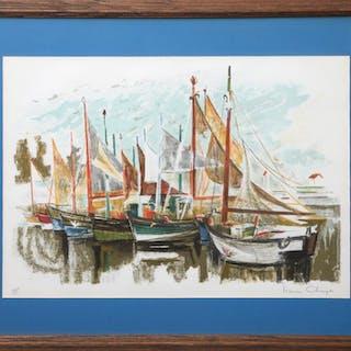 Simon Chaye, Sailboats in the Marina, Lithograph