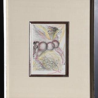 Salvador Dalí, Pegasus (Color), Etching