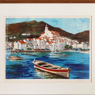 Eduardo Vial Hugas, Seaside Town, Lithograph