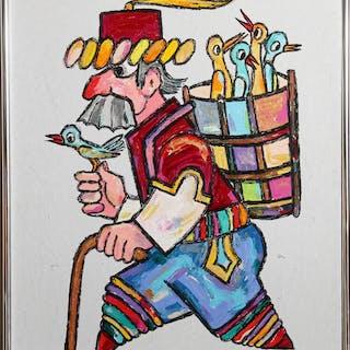Jovan Obican, Traveler with Birds, Oil Painting