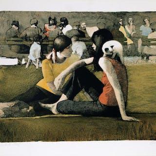 Daniel Bennett Schwartz, Two Girls in the Park with Cat, Lithograph