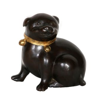 Dog with Bell Collar, Bronze with Patina