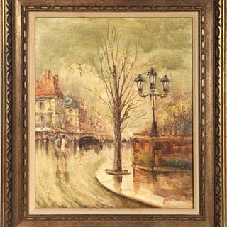 Winter Tree by European Street, Oil Painting 'Japhet'