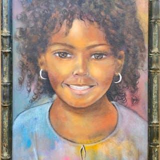Carel Blain, Young Girl Portrait, Acrylic Painting