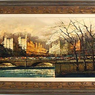 Paris Bridge in Winter, Oil Painting