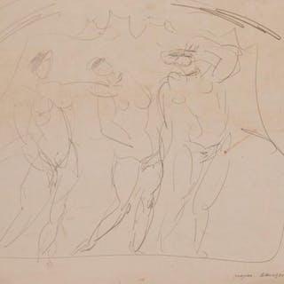 A DRAWING OF THREE WOMEN BY VALENTIN YUSTITSKI (RUSSIAN 1894
