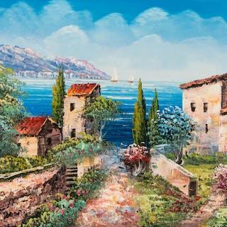 EUROPEAN 20TH CENTURY ARTIST, MEDITERRANEAN LANDSCAPE, oil p