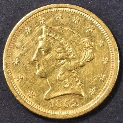 1852-O $2.5 GOLD LIBERTY HEAD BU