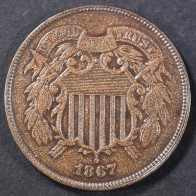 1867 DOUBLE DIE 2 CENT AU/BU