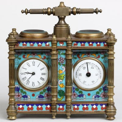 French cloisonne clock and barometer