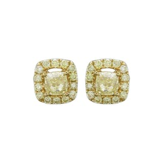 Yellow Diamonds Earrings Closed Auction