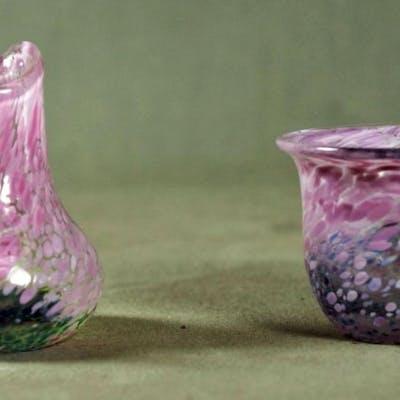 Small Kosta Boda Art Glass Creamer And Sugar
