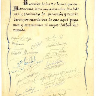Sheet autographed by the Uruguayan winners of the 1950 World