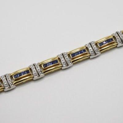 18K Gold Sapphire and Diamond Bracelet