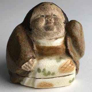 Japanese ceramic box figure of a woman. Marked on the bottom