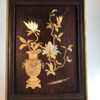 Circa 1940 a Japanese Shibayama wood panel with