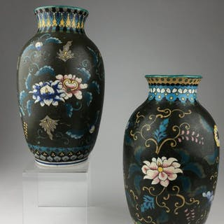 Two early 20 th century Japanese cloisonne on porcelain vase