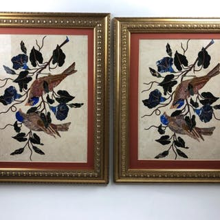 Circa 1980 pair of pietra dura plaques with birds sitting in